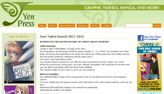 Yen Press New Talent Search for Manga Artists