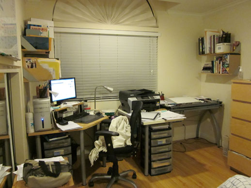 Comic workstation with a computer table, printer/scanner, art table and lightbox